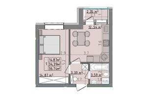 ЖК Сонячні пагорби: планировка 1-комнатной квартиры 36.74 м²