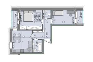 ЖК Сонячні пагорби: планировка 2-комнатной квартиры 59.63 м²