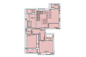 ЖК Сонячні пагорби: планировка 3-комнатной квартиры 92 м²