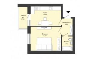 ЖК Сонячний край: планування 1-кімнатної квартири 40.2 м²