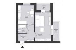 ЖК Сонячний край: планування 1-кімнатної квартири 48 м²