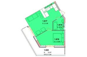 ЖК Сонячний квартал: планування 1-кімнатної квартири 48.36 м²