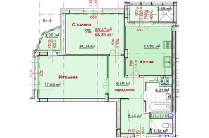 ЖК Соняшник: планування 2-кімнатної квартири 66.85 м²