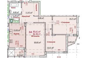 ЖК Соняшник: планування 3-кімнатної квартири 89.09 м²