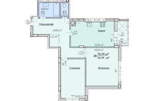 ЖК Соняшник: планування 2-кімнатної квартири 73.99 м²