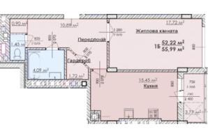 ЖК Соняшник: планування 1-кімнатної квартири 55.99 м²