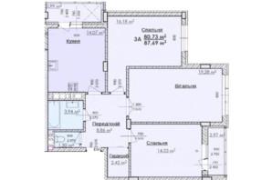 ЖК Соняшник: планування 3-кімнатної квартири 87.69 м²