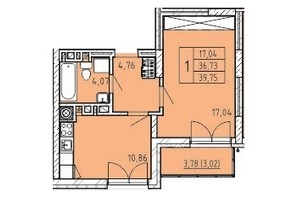 ЖК Сонцебуд: планировка 1-комнатной квартиры 39.75 м²