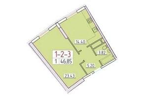 ЖК Сорок друга перлина: планування 1-кімнатної квартири 46.1 м²