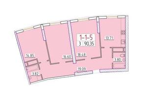 ЖК Сорок друга перлина: планування 3-кімнатної квартири 90.35 м²