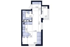 ЖК Современный квартал: планировка 1-комнатной квартиры 35.32 м²