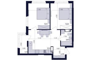 ЖК Современный квартал: планировка 2-комнатной квартиры 53.22 м²