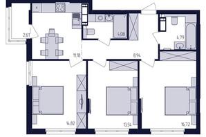 ЖК Современный квартал: планировка 3-комнатной квартиры 76.68 м²