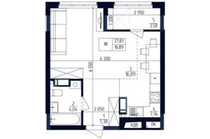 ЖК Современный квартал: планировка 1-комнатной квартиры 37.83 м²