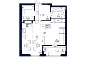 ЖК Современный квартал: планировка 1-комнатной квартиры 43.02 м²
