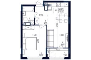 ЖК Современный квартал: планировка 1-комнатной квартиры 46.05 м²