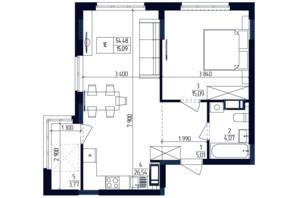 ЖК Современный квартал: планировка 1-комнатной квартиры 54.48 м²