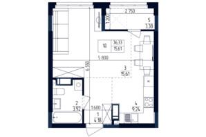 ЖК Современный квартал: планировка 1-комнатной квартиры 36.34 м²