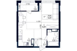 ЖК Современный квартал: планировка 1-комнатной квартиры 38.86 м²