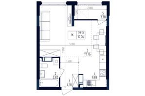 ЖК Современный квартал: планировка 1-комнатной квартиры 39.13 м²