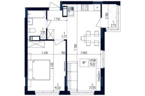 ЖК Современный квартал: планировка 1-комнатной квартиры 49.08 м²