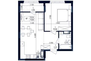 ЖК Современный квартал: планировка 1-комнатной квартиры 50.36 м²