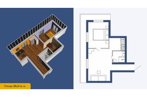 ЖК Созвездие-2020: планировка 3-комнатной квартиры 55.3 м²