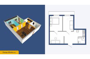 ЖК Созвездие-2020: планировка 2-комнатной квартиры 57.4 м²