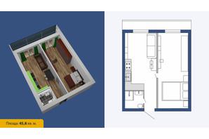 ЖК Созвездие-2020: планировка 2-комнатной квартиры 45.8 м²