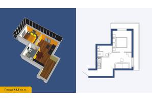 ЖК Созвездие-2020: планировка 2-комнатной квартиры 43.5 м²