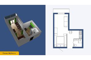 ЖК Созвездие-2020: планировка 1-комнатной квартиры 32.2 м²