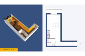 ЖК Созвездие-2020: планировка 1-комнатной квартиры 32 м²