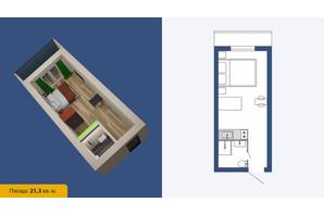 ЖК Созвездие-2020: планировка 1-комнатной квартиры 21.3 м²