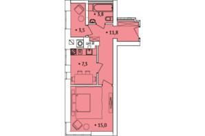 ЖК Spectrum: планування 1-кімнатної квартири 40 м²