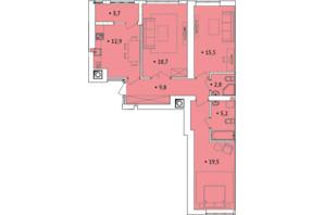 ЖК Spectrum: планування 3-кімнатної квартири 87 м²