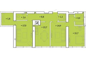 ЖК Spectrum: планування 3-кімнатної квартири 86 м²