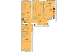 ЖК Spectrum: планування 3-кімнатної квартири 87.14 м²