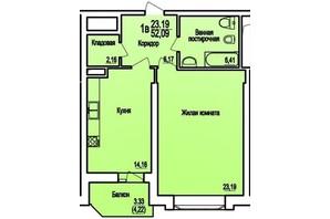 ЖК Співочий фонтан: планування 1-кімнатної квартири 52.09 м²