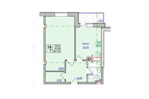 ЖК Спортивний: планування 1-кімнатної квартири 44.1 м²