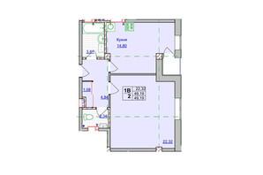 ЖК Спортивний: планування 1-кімнатної квартири 49.19 м²