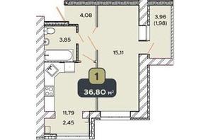 ЖК Spring Town: планування 1-кімнатної квартири 36.8 м²