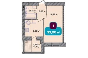 ЖК Spring Town New Rivier (Спрінг Таун Нью Рів'єра): планування 1-кімнатної квартири 33 м²