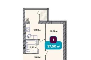 ЖК Spring Town New Rivier (Спрінг Таун Нью Рів'єра): планування 1-кімнатної квартири 37.5 м²