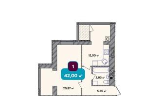 ЖК Spring Town New Rivier (Спрінг Таун Нью Рів'єра): планування 1-кімнатної квартири 42 м²
