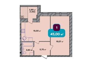 ЖК Spring Town New Rivier (Спрінг Таун Нью Рів'єра): планування 1-кімнатної квартири 45 м²