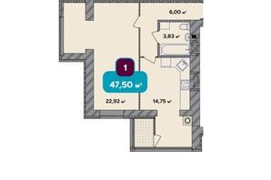 ЖК Spring Town New Rivier (Спрінг Таун Нью Рів'єра): планування 2-кімнатної квартири 47.5 м²
