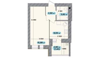ЖК Spring Town New Rivier (Спрінг Таун Нью Рів'єра): планування 1-кімнатної квартири 32 м²