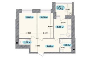 ЖК Spring Town New Rivier (Спрінг Таун Нью Рів'єра): планування 2-кімнатної квартири 46.5 м²