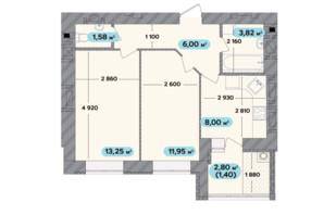 ЖК Spring Town New Rivier (Спрінг Таун Нью Рів'єра): планування 2-кімнатної квартири 46 м²