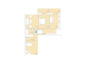ЖК Срібні Озера Комфорт: планування 3-кімнатної квартири 88.6 м²